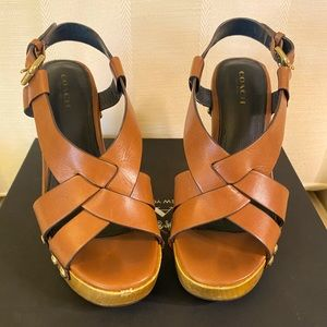 Beautiful Coach Brown leather wooden heels